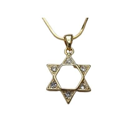 Corrente e pingente Estrela de David dourado com pedras transparentes