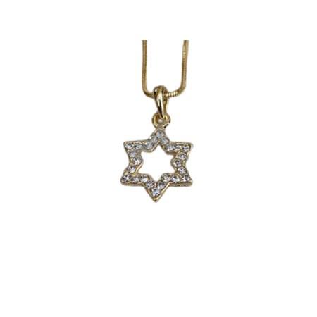 Corrente e pingente estrela de David dourado com zircônias