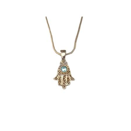 Corrente e pingente Hamsa dourada com pedra azul