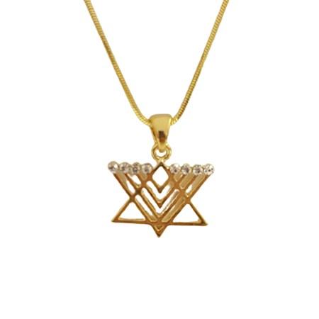 Corrente e pingente Estrela de David Chanukiá com zircônias transparentes - Dourado
