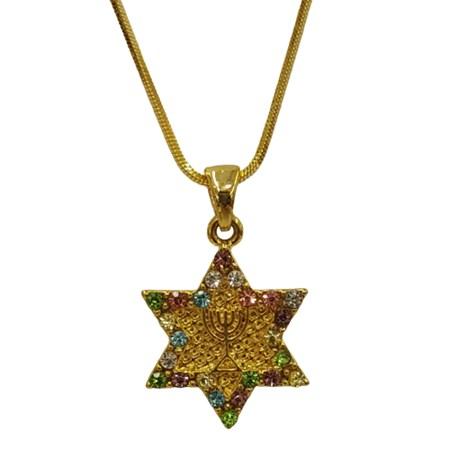 Corrente e pingente estrela de David com menorá dourada zircônias coloridas