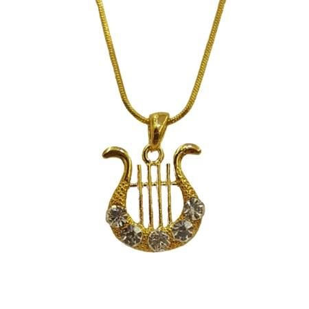 Corrente e pingente Harpa de David com pedras transparentes