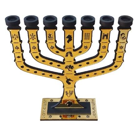Menorá Jerusalém de acrílico e madeira grande - Dourada