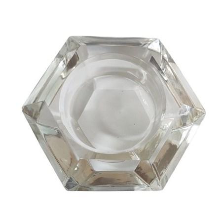 Porta velas de vidro - Sextavado
