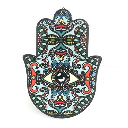 Hamsa de cerâmica - colorida verde