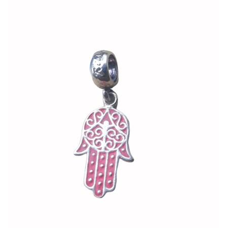 Pingente hamsa de prata rosa