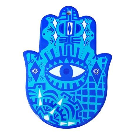 Hamsa de porcelana azul royal