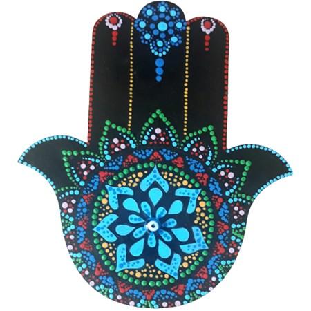 Hamsa preta com flor azul e olho pequeno