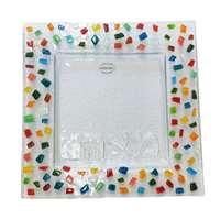 Prato para matzá de vidro mosaico colorido