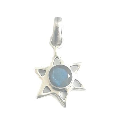 Pingente estrela de David com pedra azul