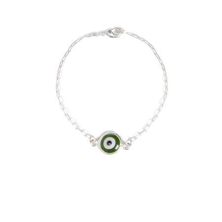 Pulseira de prata com olho grego verde