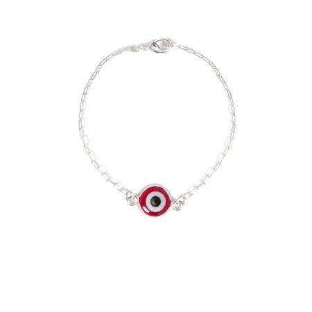 Pulseira de prata com olho grego vermelho
