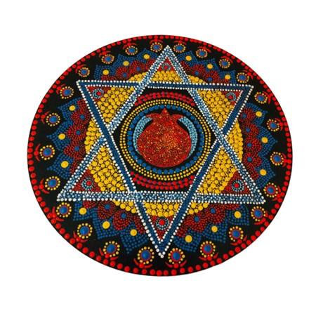 Mandala colorida grande  - Estrela com romã