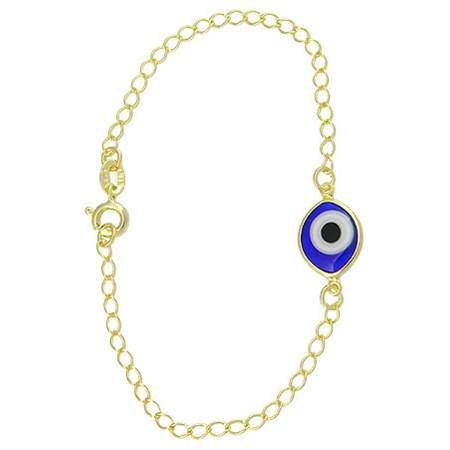 Pulseira dourada com olho grego - Azul Marinho