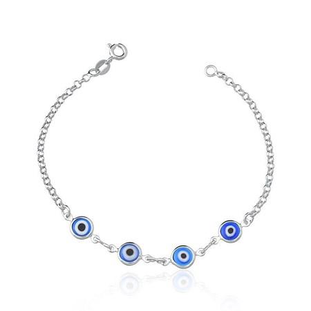 Pulseira de prata com quatro olhinhos azuis