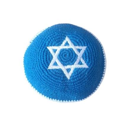 Kipá de crochê azul royal com strela de David