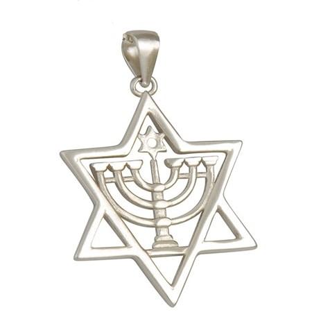 Pingente Estrela de David com Menorá de prata
