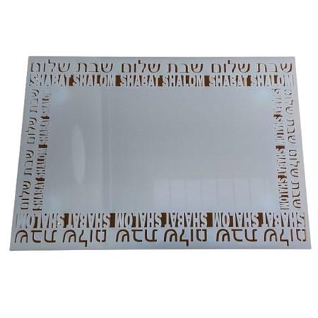 Prato retangular vazado Shabat Shalom - Transparente